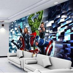 Marvel's Avengers 3d wallpaper for walls. The Hulk, Thor, Ironman, Captain America Avengers kids wallpaper. Part of our customized wallpaper collections.