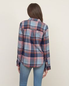 A casual classic with all-over plaid, featuring two front pockets with logo details at left pocket and hem, curved hem, Classic Fit, Imported<br><br>100% Cotton