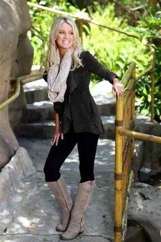 Jacket, Scarf, & Boots - Stylish Fall