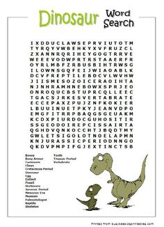 Dinosaur Word Searches
