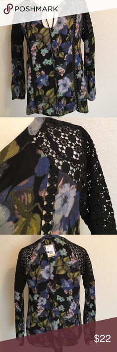 """Jessica Simpson NWT Navy Floral Top. Size S Pretty new Jessica Simpson long sleeve, netted design shoulders, floral (navy, black, blue) blouse. Shoulder to hem 24"""", armpit to armpit 18"""". Jessica Simpson Tops Blouses"""
