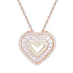 GuqiGuli Sterling Silver Jewelry Rose Gold Tri-color Triple Heart Pendant  Necklace for Women bf287dd51e33