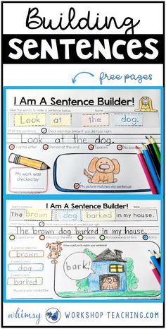 , Sentences: Building and Self Editing - Whimsy Workshop Teaching , Sentence Building through the entire year! Independent practice building and self editing sentences with parts of speech and spelling patterns togethe. 1st Grade Writing, Teaching First Grade, First Grade Reading, Teaching Writing, Writing Practice, Writing Skills, Writing Workshop, Writing Centers, Writing Process