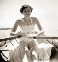 Hitler's mistress, Eva Braun on the Konigsee 1937