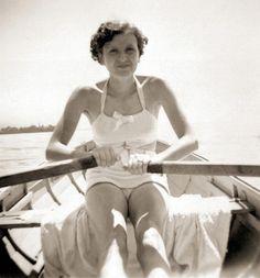 Hitler's mistress, Eva Braun on the Konigsee 1937