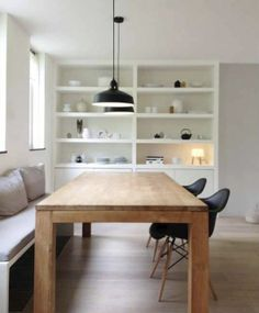 Modern Dining Room Ideas – Modern style design has clean lines and curves, without clutter. The modern wall colors are […] Sweet Home, Coin Banquette, Beton Design, Design Design, Modern Design, Dining Nook, Dining Room Inspiration, Home Interior, Home And Living