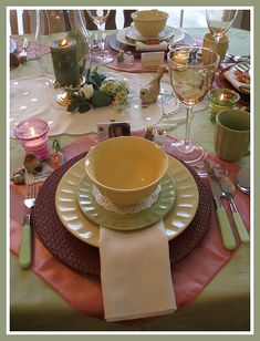 "I hosted a ""Think Spring"" Ladies Luncheon for 8 ladies. The colours green, yellow, pink and cream lent themselves to a feeling of springtime"