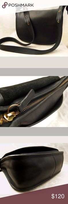 Vintage Coach Black Leather Crossbody Shoulder Bag In Good Pre-owned Condition! Several compartments for storage. Buckle adjustable straps. Please view my closet for additional designer items. Thank you. Coach Bags Shoulder Bags