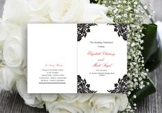 Printable wedding ceremony programme template Black floral by Oxee , ceremony programme DIY editable, Word , $8.00