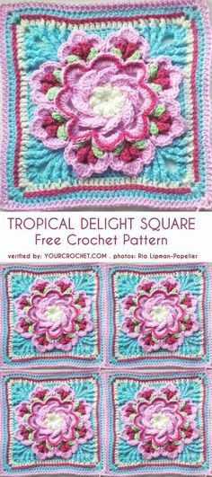 Crochet Patterns Tropical Delight – Crochet Square and Blanket [Free Pattern and Video Tutorial] - Knitting Bordado Crochet Squares Afghan, Crochet Motifs, Granny Square Crochet Pattern, Afghan Crochet Patterns, Crochet Stitches, Free Crochet, Crochet Granny, Granny Squares, Crochet Borders