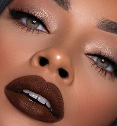 2019 Beautiful Makeup Samples for Black Women - Make Up - Makeup For Black Skin, Black Girl Makeup, Makeup For Brown Eyes, Girls Makeup, Fall Makeup For Black Women, Makeup For Black Dress, Beauty Make-up, Armani Beauty, Flawless Makeup