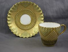 Antique Coalport Jeweled Beaded Demitasse Cup & Saucer NR  Mint!