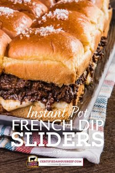 Wow your guests with this mouth-watering Instant Pot French Dip Pull-Apart Sliders! These buttery rolls filled with tender beef and gooey cheese will disappear quickly. #certifiedangusbeef #bestangusbeef #beefrecipe #instantpot #sliders #frenchdip