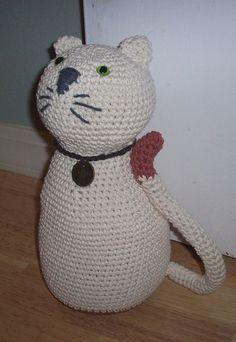 Kitty Door Stop in Ecru and Paprika Crocheted Cotton by nenafaye, $38.00
