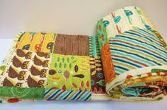 Crib Quilt Baby Boy Quilt-Smore Love, Owls, Camping, Fish, Woodland Outdoor Theme, Moda Fabric on Etsy, $170.86 CAD
