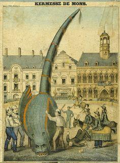Saint-Georges-et-dragon- Draaksteken Bergen (Belgie) gravure 19th century - Draak (fabeldier) - Wikipedia