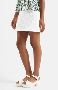 Topshop Quilted A-Line Miniskirt available at #Nordstrom