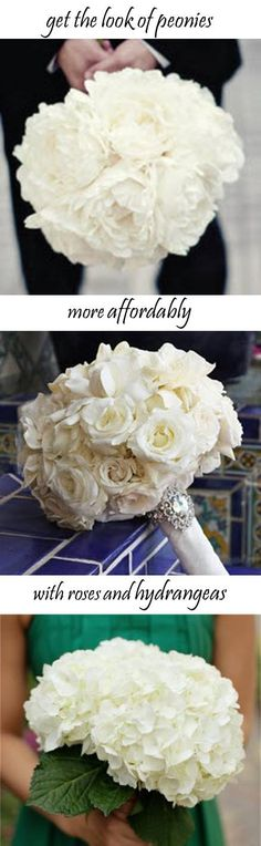 Get the look of peonies more affordably with roses or hydrangea, white bouquet