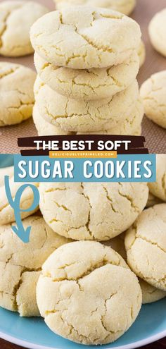 Want a dessert idea that will knock your socks off? Say hello to the BEST Sugar Cookie recipe! You won't be able to stop eating that super soft, melt-in-your-mouth goodness. Save this Christmas in July recipe! Best Sugar Cookie Recipe, Easy Sugar Cookies, Delicious Cookie Recipes, Best Cookie Recipes, Homemade Cookies, Yummy Food, Tasty, Raw Dessert Recipes