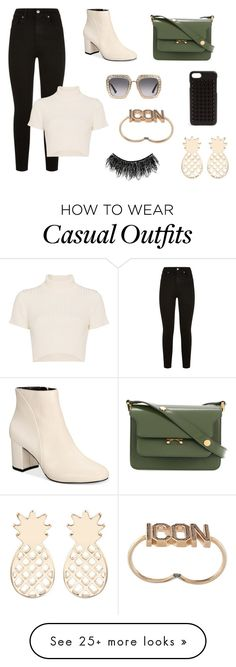 """""""casual modern outfit"""" by lena-topouzi on Polyvore featuring 7 For All Mankind, Staud, INC International Concepts, Marni, Gucci, Christian Louboutin, Dsquared2, Illamasqua and modern"""