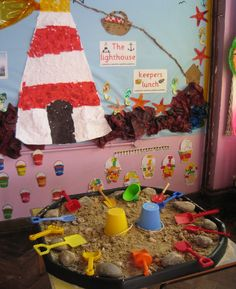 A super Tuff Spot Seaside role-play classroom area photo contribution. Great ideas for your classroom! School Displays, Classroom Displays, Eyfs Classroom, Classroom Ideas, Eyfs Activities, Summer Activities, Toddler Activities, Lighthouse Keepers Lunch, Seaside Theme