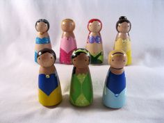 The Original Fairytale Princesses Peg Doll Play Set. $55.00, via Etsy.