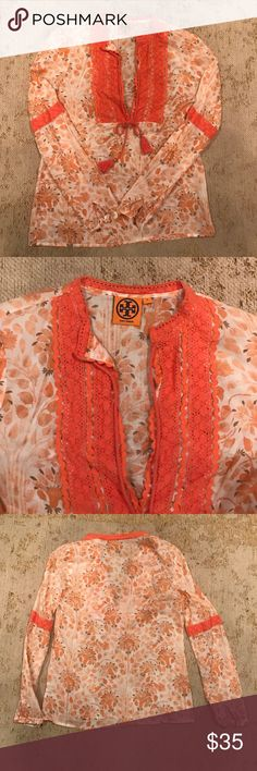 Tory Burch floral blouse Super cute Tory Burch blouse. I wish it fit me (small around the bust). Tory Burch Tops Blouses