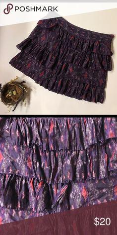 "Gap purple print tiered skirt Pretty purple print tiered skirt in size 14. Waist 18"" across, length 18"". Side zipper. GAP Skirts"
