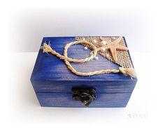 Starfish Wedding Box Rings Marine wedding Blue box Wooden
