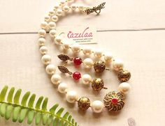 Golden Necklace, Necklace Set, Pearl Necklace, Queen Bees, Handmade Jewellery, Ruby Red, Earring Set, Ethnic, Pearls