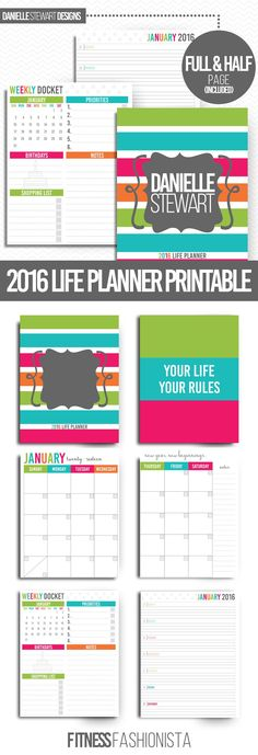 2016 Life Planner Printable- Organize your entire life to help you stay on track and reach all of your goals.