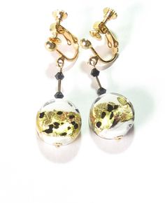 Gold Filled Murano Glass White Leopard Dangle  Earrings,  Venetian Clip On Jewelry Gift for Woman