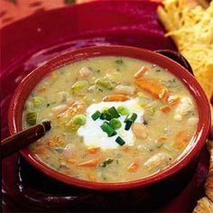 My favorite winter soup. It's very similar to a white chicken chili.. Goes great with a dollop of sour cream and cheese on top and I always serve it with French bread! So good and freezes well to!
