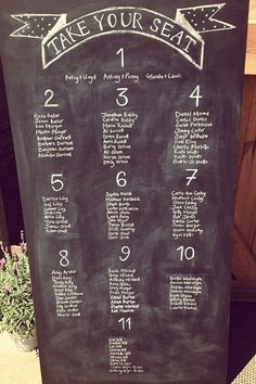 Wedding 'chalkboard' table plan; adds a personal touch to the space.