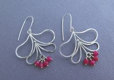 Dangle Flower Earrings  Sterling Silver and by DaliaShamirJewelry
