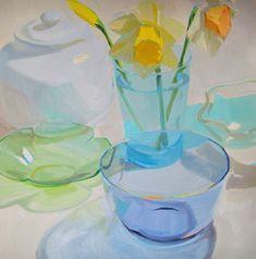 daffodil, light, pastel, blue, green- Karen O'Neil