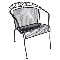 black wrought lawn chair