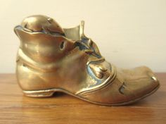 Vintage small brass boot with mice.  Vintage unique gift.  Brass boot paper weight. on Etsy, $48.00