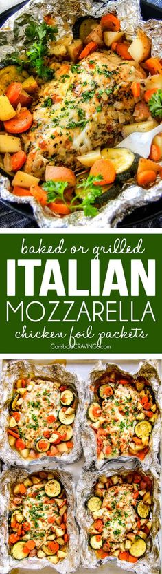Baked or Grilled Italian Mozzarella Chicken Foil Packets are bursting with astonishingly juicy, flavorful chicken and tender, seasoned Potatoes, Carrots and Zucchini all smothered with Mozzarella Cheese! These foil packets are meal-in-one that are quick to throw together and even quicker to clean up! via @carlsbadcraving