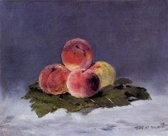 Peaches, Edouard Manet - How to capture the velvet skin of peaches with oil paint? Manet does a great job. Pierre Auguste Renoir, Edouard Manet Paintings, Berthe Morisot, Francisco Goya, France Art, Paris France, Oeuvre D'art, Art Reproductions, Les Oeuvres
