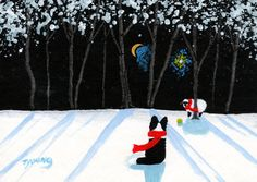 Border Collie dog Folk Art print by Todd Young by ToddYoungArt, $12.50