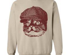 Cat Newsboy Sweater Flex Fleece Pullover Classic Sweatshirt - S M L Xl and Xxl (Color Options)
