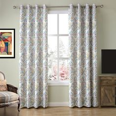 Amazon.com: ChadMade Contemporary Faux Linen Premium Print Lined Curtain Panel Drapes Nickel Grommet Blue 52Wx72L Inch (1 Panel),Heading / Size Customizable For Bedroom | Living Room | Club | Hotel | Restaurant: Home & Kitchen