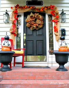 Fabulous Fall Porch - Find more seasonal decorating tips at Fresh Idea Studio.com