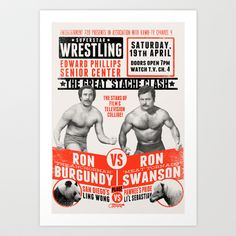 the Great 'Stache Clash (black & orange variant) Art Print by Damaged Goods - $18.00 | Ron Burgundy vs. Ron Swanson | Anchorman vs. Parks & Rec