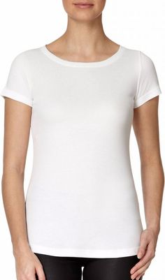 Lavender Hill Round Neck Cotton Modal Short Sleeve Crew T-Shirt in White as seen on Karlie Kloss