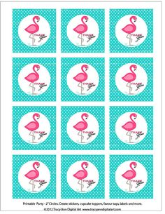 Pink Flamingo Thank you Owl party circles to use on your party bags as favour tags or envelope seals on thank you note. These are designed for personal use only. Print and cut printable 2 inch party circles for favour bags, tags, The image is slightly larger than 2 inches to make punching easy 2 inch circles or cut as squares. See matching invites and sets in my shop http://www.etsy.com/shop/TracyAnnPrintables Delivered as a high quality PDF File (Letter size) You will need adobe re...