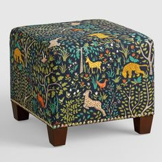 Featuring colorful folk art animals in a woodland scene, our plush, custom-made ottoman is handcrafted with cotton upholstery and nail trim. Upholstered Ottoman, Upholstered Furniture, Custom Furniture, Painted Furniture, Ottoman Stool, Living Room Furniture, Home Furniture, Furniture Design, Furniture Chairs