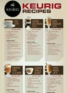 Keurig Recipes (part Coffee Menu, Coffee Drinks, Coffee Coffee, Iced Coffee Keurig, Happy Coffee, Coffee Truck, Starbucks Coffee, Keurig Recipes, Coffee Recipes
