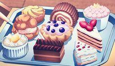 Dessert, pastries, cake; Anime Food
